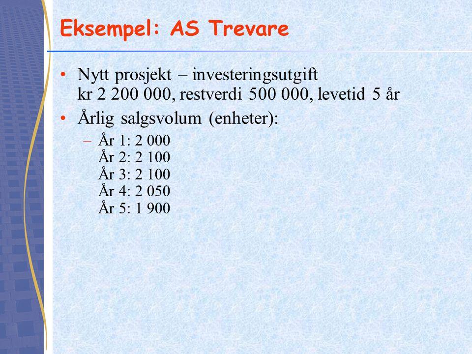 Eksempel: AS Trevare Nytt prosjekt – investeringsutgift kr 2 200 000, restverdi 500 000, levetid 5 år.