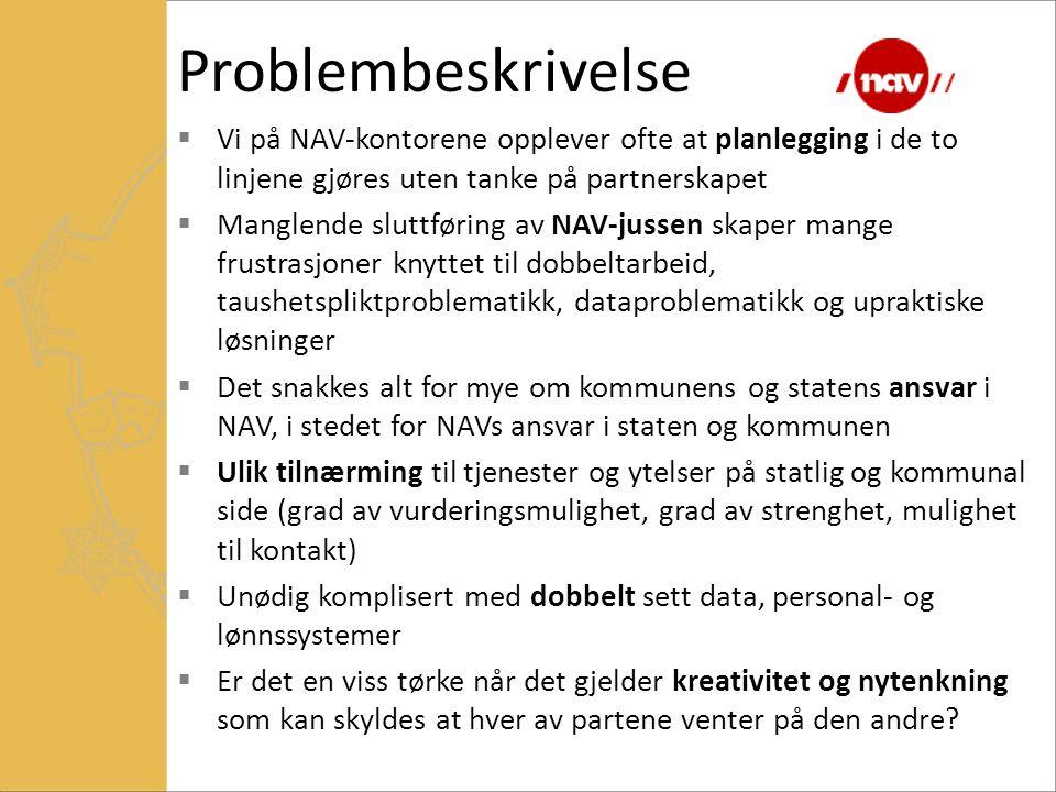 Problembeskrivelse Vi på NAV-kontorene opplever ofte at planlegging i de to linjene gjøres uten tanke på partnerskapet.
