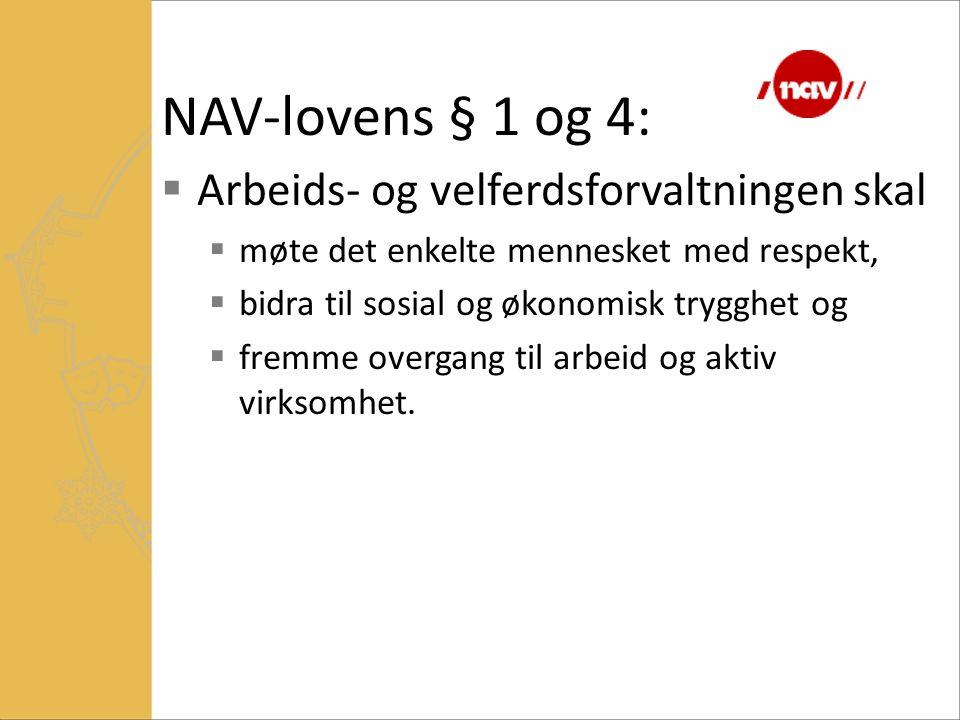 NAV-lovens § 1 og 4: Arbeids- og velferdsforvaltningen skal