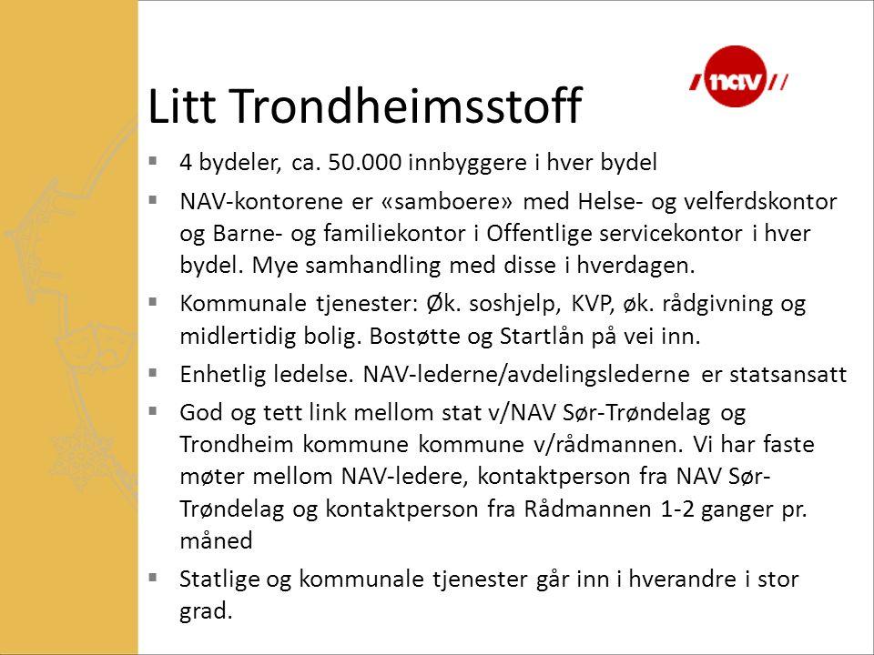 Litt Trondheimsstoff 4 bydeler, ca. 50.000 innbyggere i hver bydel