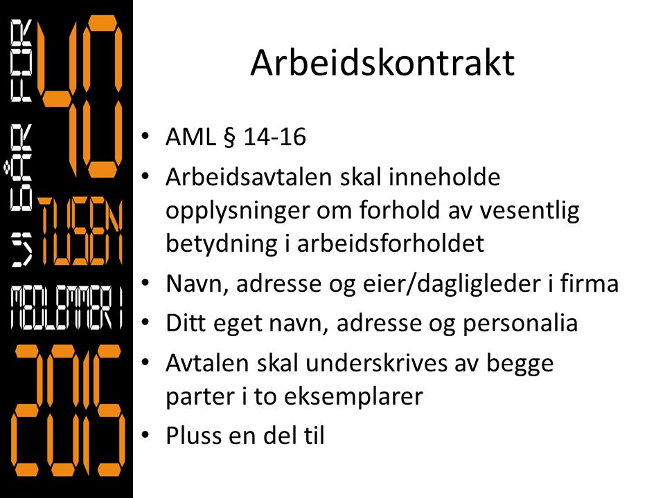 Arbeidskontrakt AML § 14-16