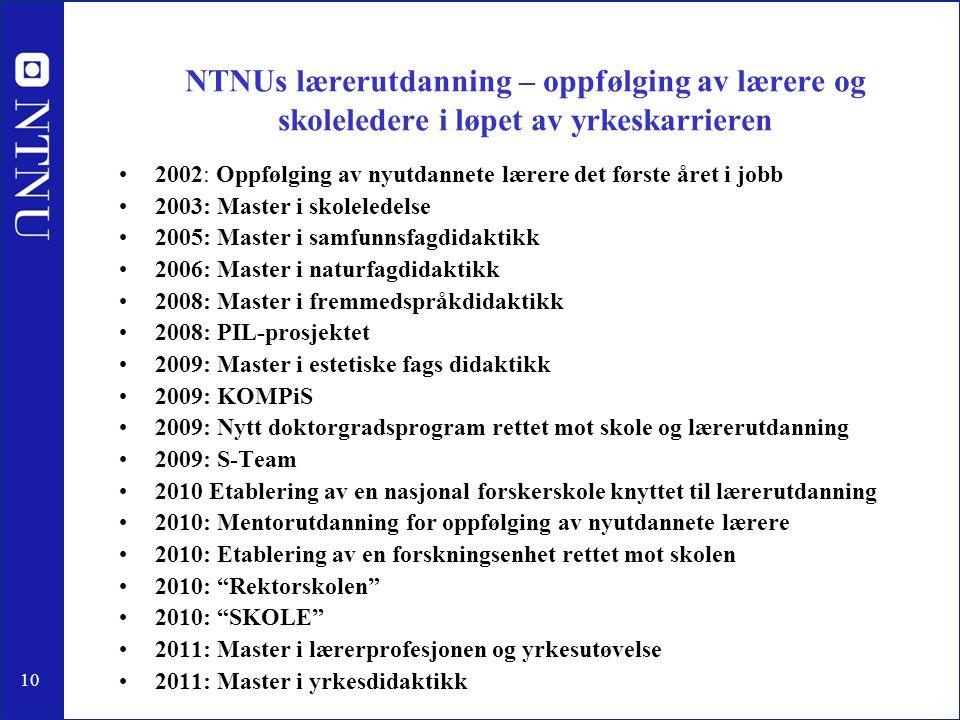 NTNUs lærerutdanning – oppfølging av lærere og skoleledere i løpet av yrkeskarrieren