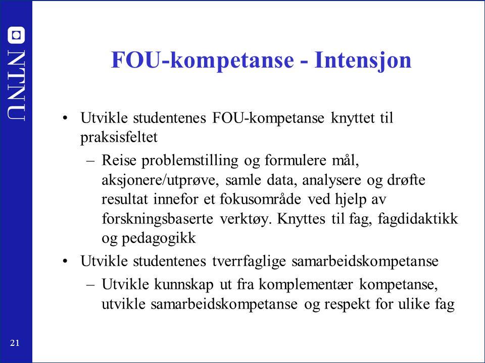 FOU-kompetanse - Intensjon