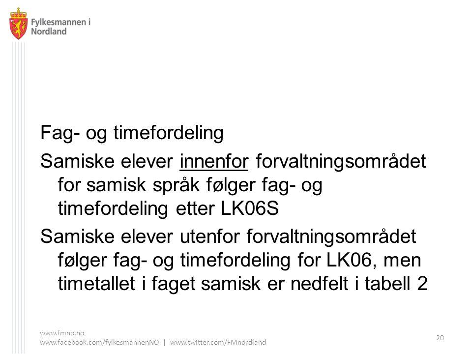 Fag- og timefordeling Samiske elever innenfor forvaltningsområdet for samisk språk følger fag- og timefordeling etter LK06S.