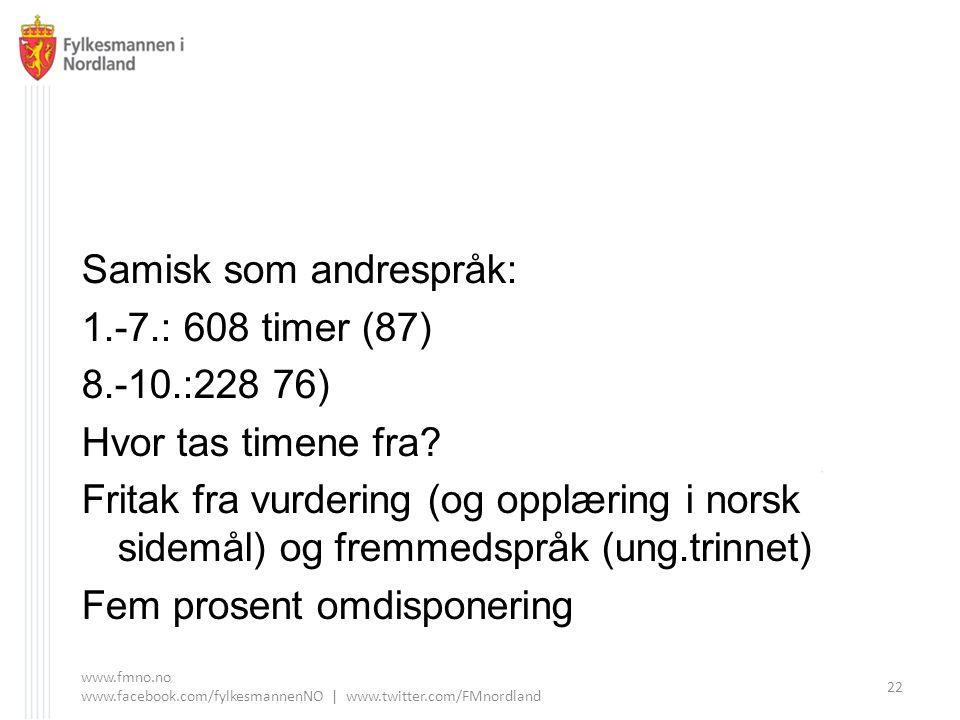 Samisk som andrespråk: 1.-7.: 608 timer (87) 8.-10.:228 76)