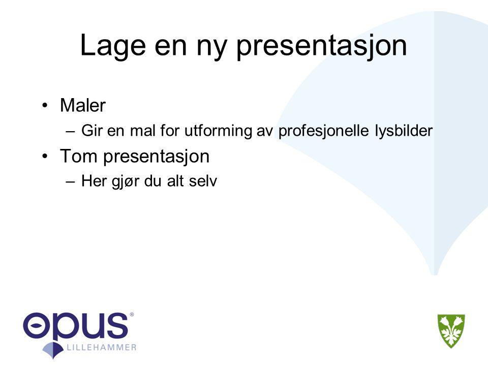 Lage en ny presentasjon