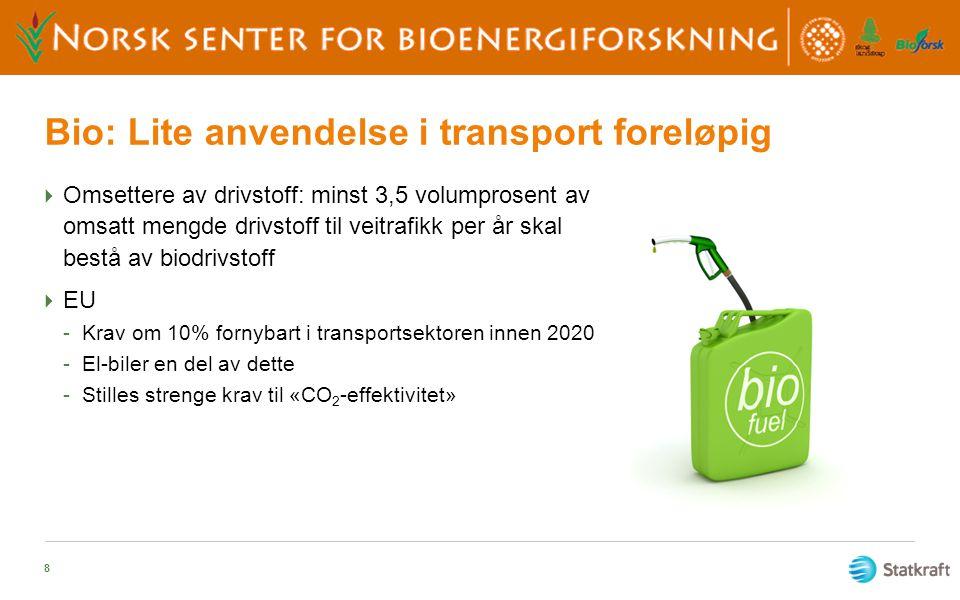 Bio: Lite anvendelse i transport foreløpig