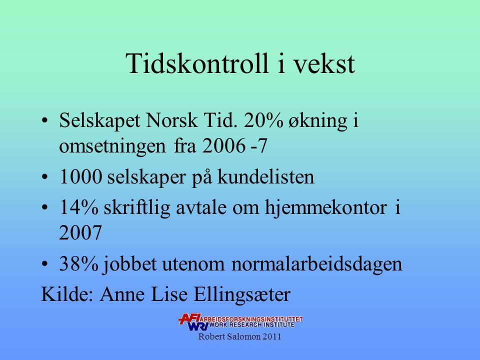 Tidskontroll i vekst Selskapet Norsk Tid. 20% økning i omsetningen fra 2006 -7. 1000 selskaper på kundelisten.