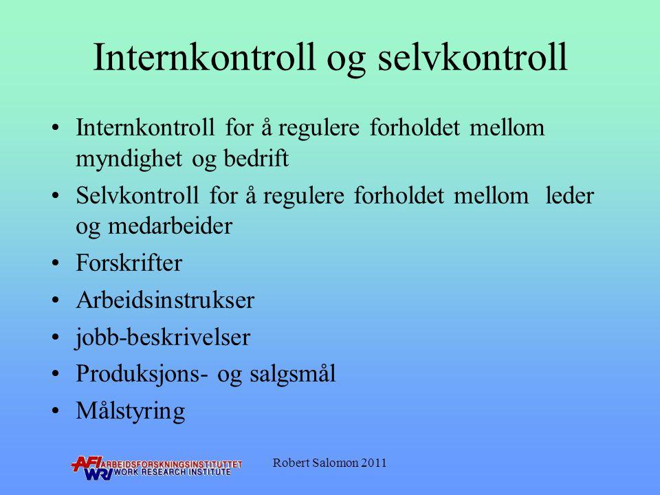 Internkontroll og selvkontroll