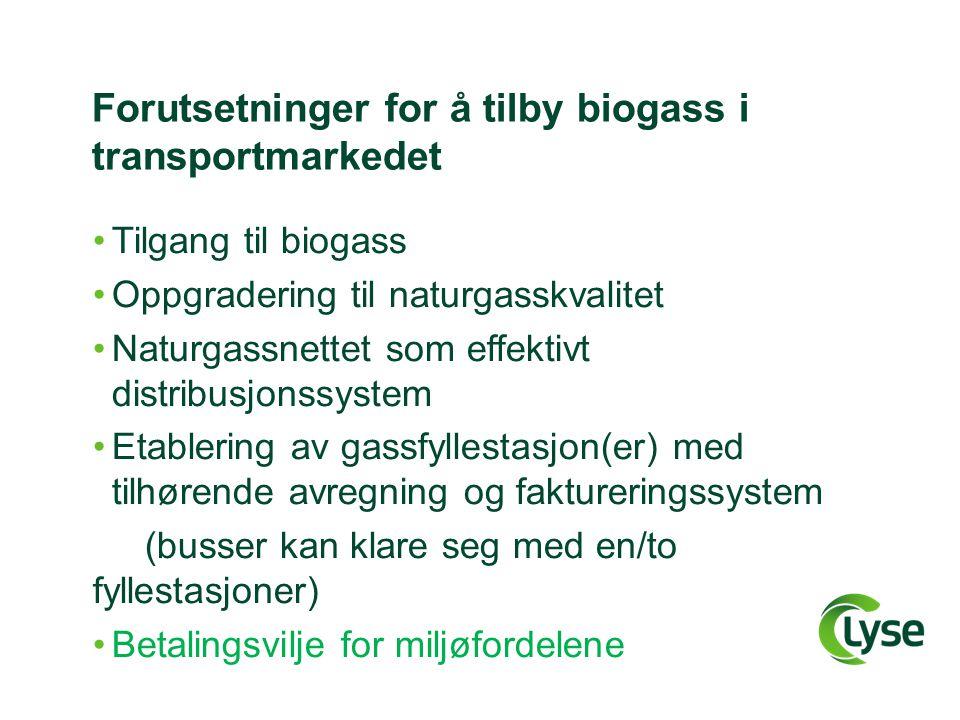 Forutsetninger for å tilby biogass i transportmarkedet