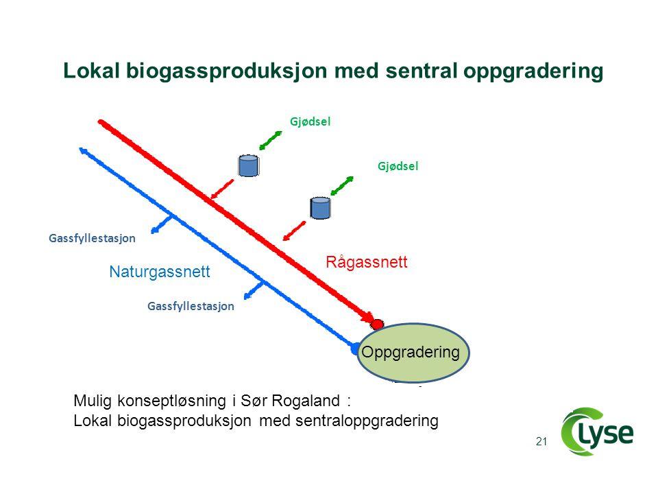 Lokal biogassproduksjon med sentral oppgradering