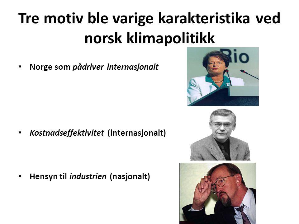 Tre motiv ble varige karakteristika ved norsk klimapolitikk