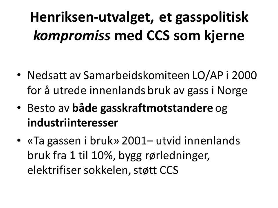 Henriksen-utvalget, et gasspolitisk kompromiss med CCS som kjerne