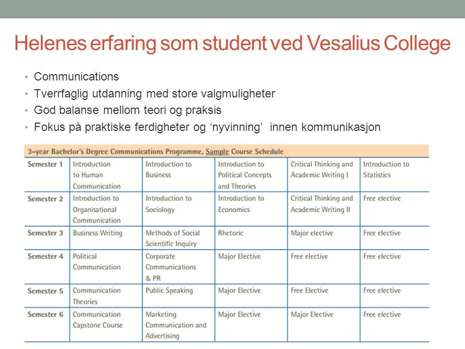 Helenes erfaring som student ved Vesalius College