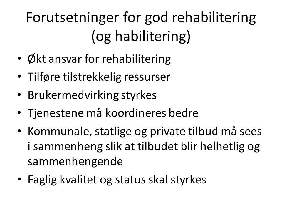 Forutsetninger for god rehabilitering (og habilitering)