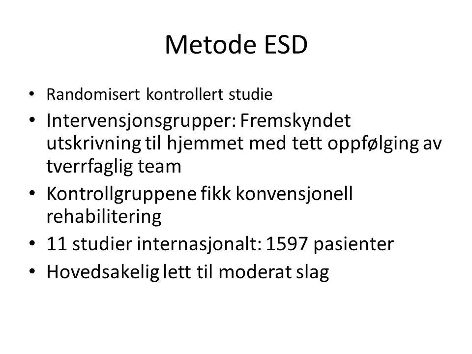 Metode ESD Randomisert kontrollert studie. Intervensjonsgrupper: Fremskyndet utskrivning til hjemmet med tett oppfølging av tverrfaglig team.