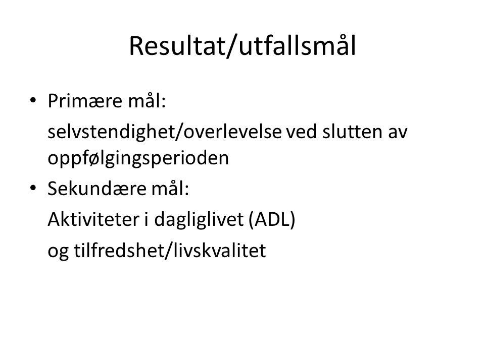 Resultat/utfallsmål Primære mål: