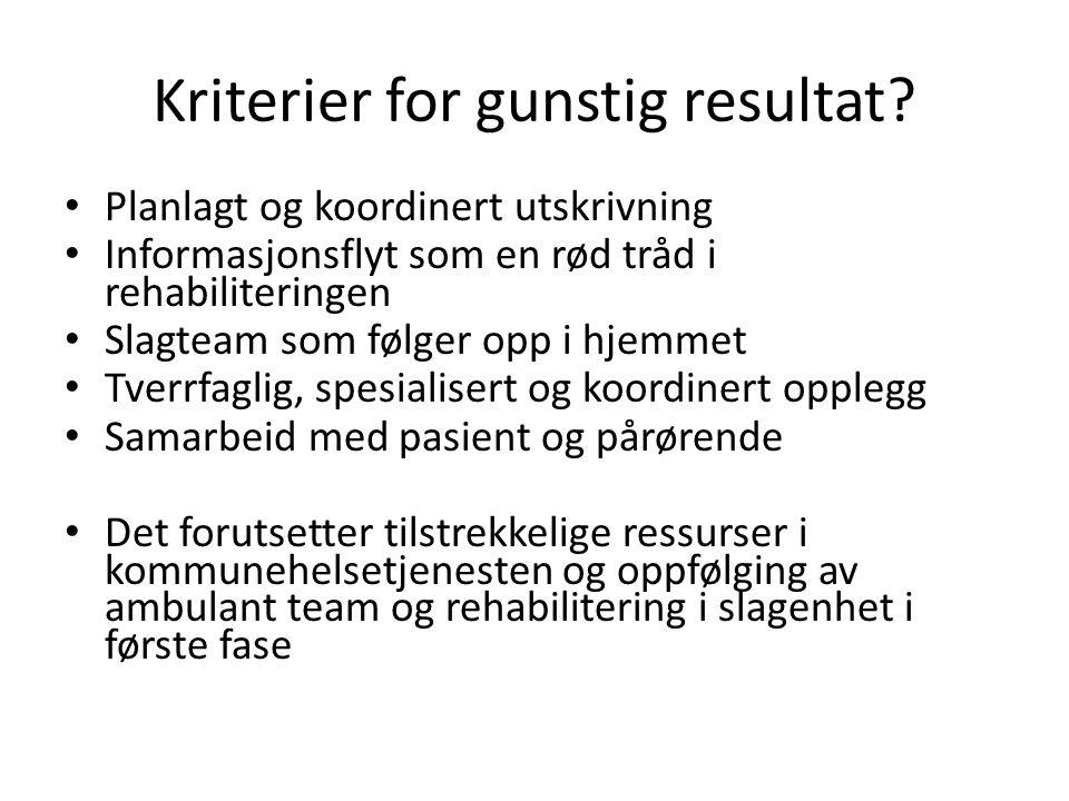 Kriterier for gunstig resultat