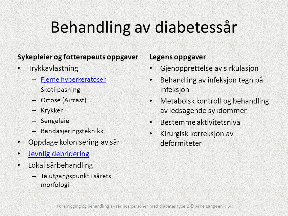 Behandling av diabetessår