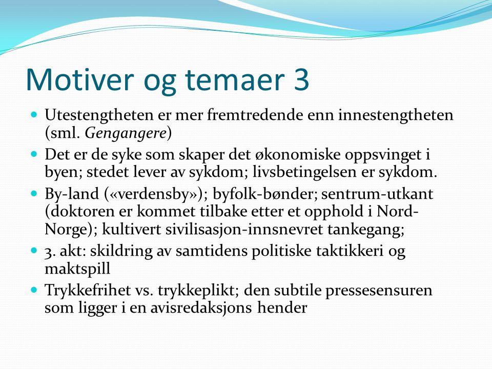 Motiver og temaer 3 Utestengtheten er mer fremtredende enn innestengtheten (sml. Gengangere)