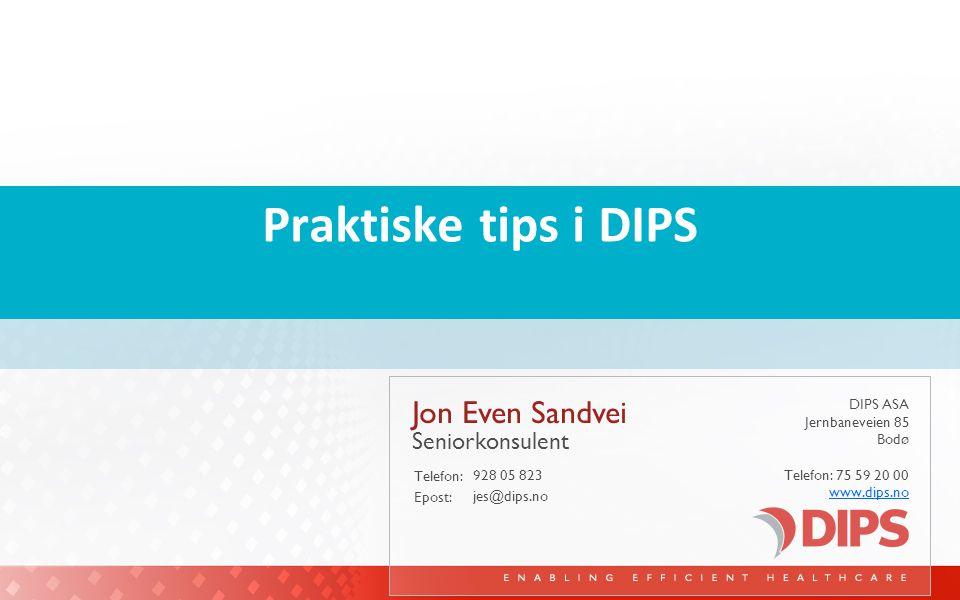 Praktiske tips i DIPS Jon Even Sandvei Seniorkonsulent 928 05 823