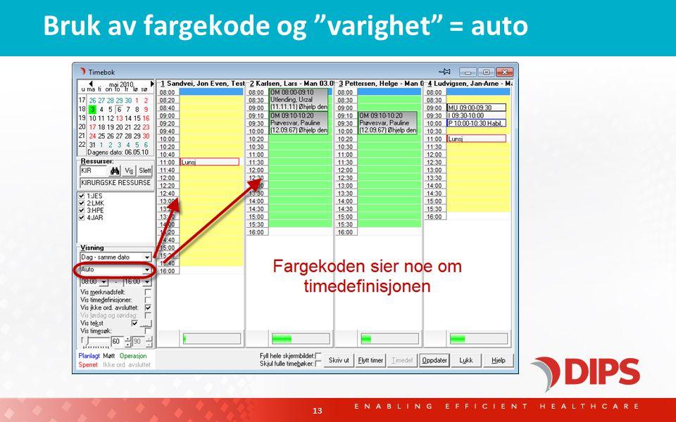 Bruk av fargekode og varighet = auto