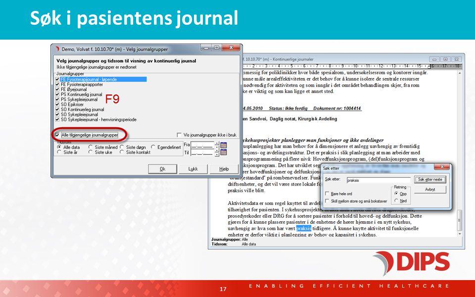 Søk i pasientens journal