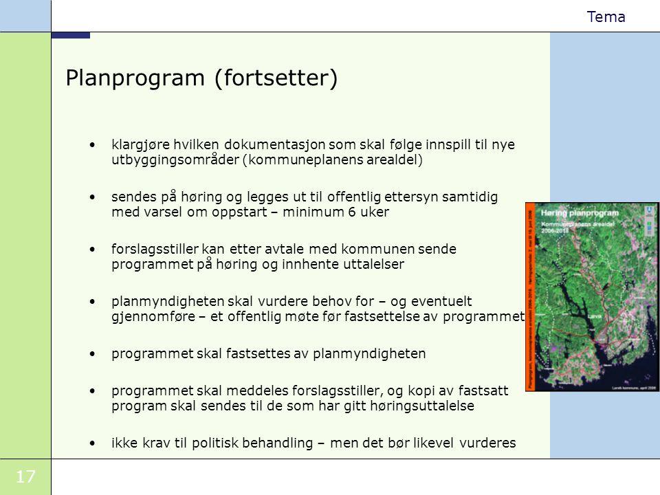 Planprogram (fortsetter)