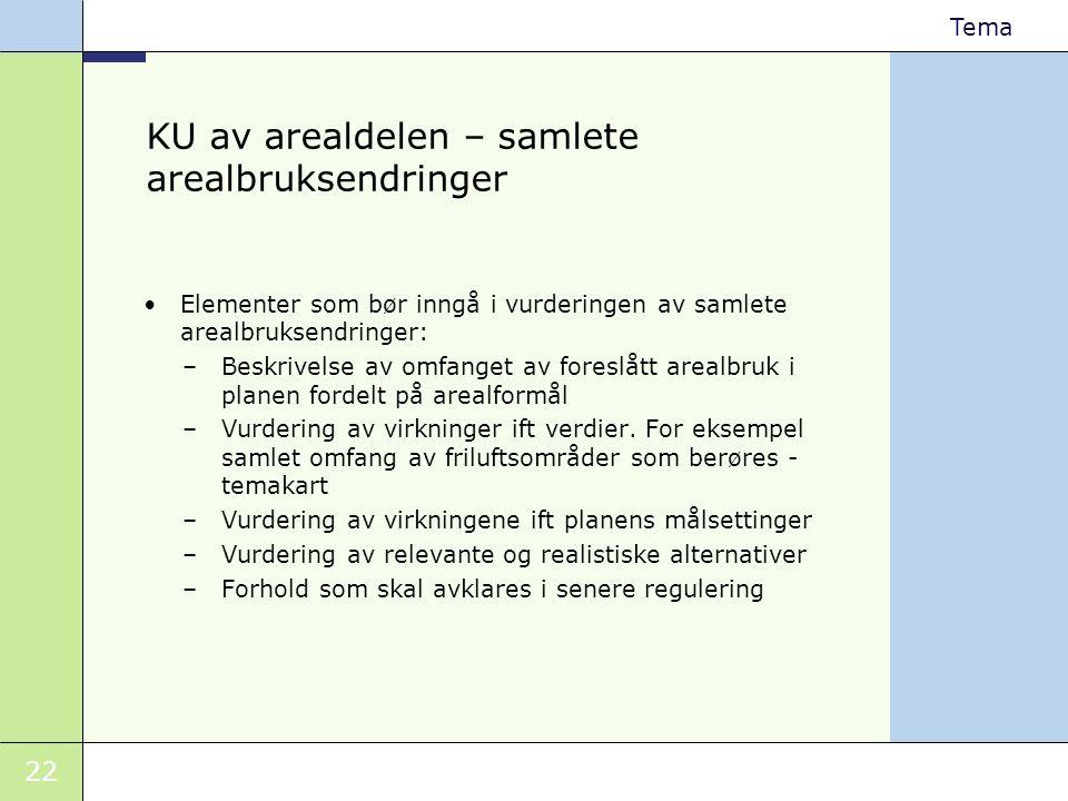 KU av arealdelen – samlete arealbruksendringer