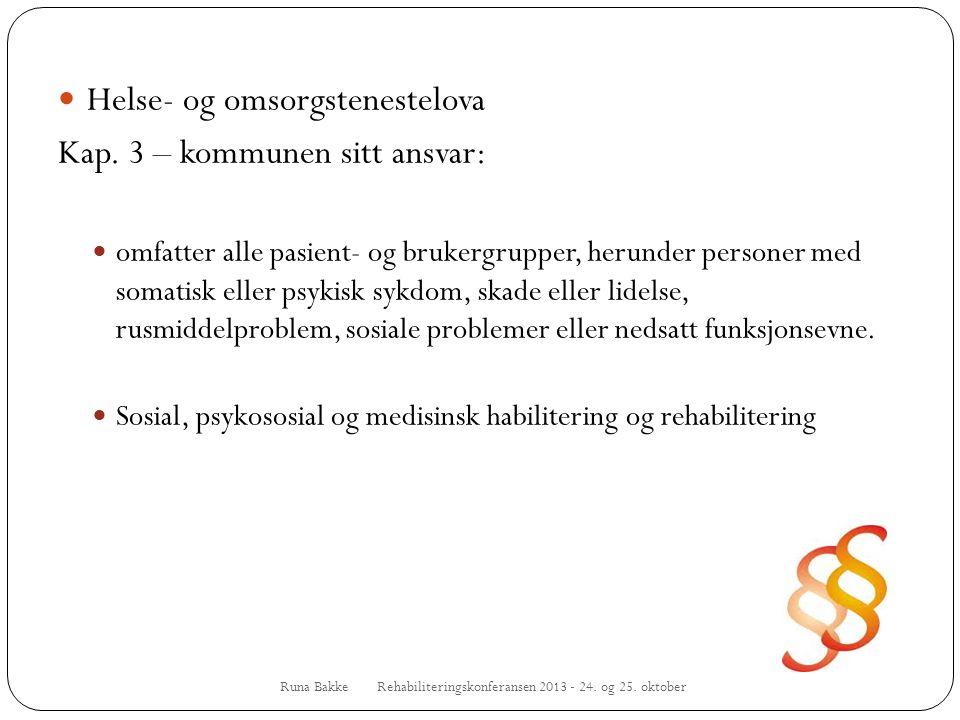 Runa Bakke Rehabiliteringskonferansen 2013 - 24. og 25. oktober