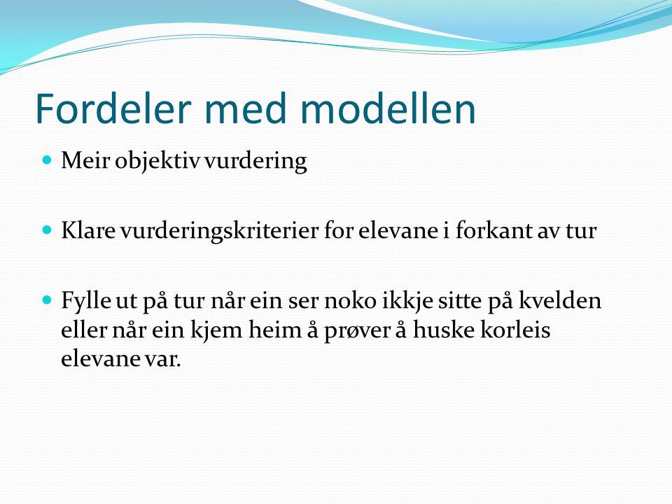 Fordeler med modellen Meir objektiv vurdering