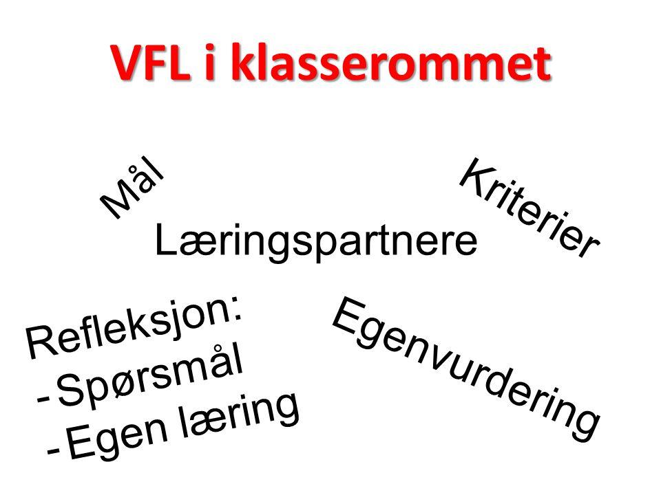 VFL i klasserommet Mål Kriterier Læringspartnere Refleksjon: Spørsmål