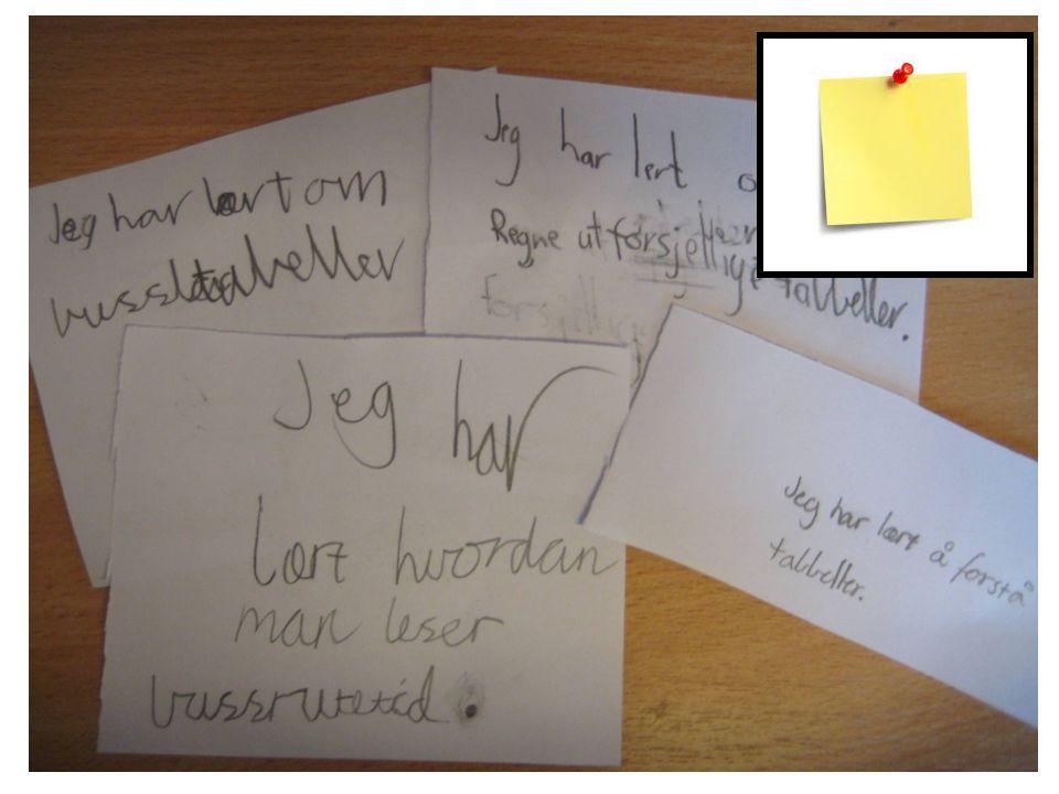 Papirlappen er en kort og grei måte å sjekke hvor mange som har lært det de skal. Enten: Si et spørsmål elevene skal svare på, eller skrive en ting de har lært og samle inn.