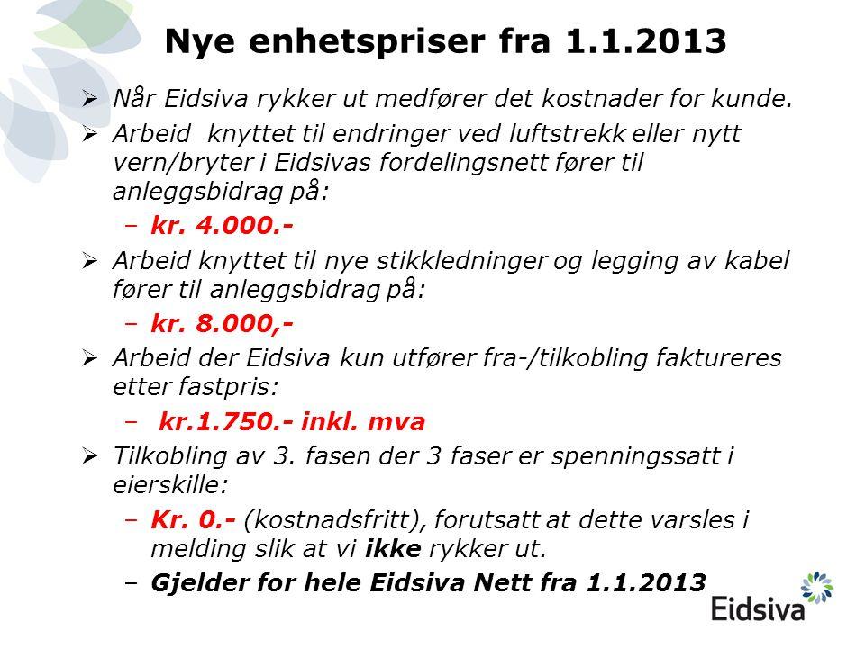 Nye enhetspriser fra 1.1.2013 Når Eidsiva rykker ut medfører det kostnader for kunde.