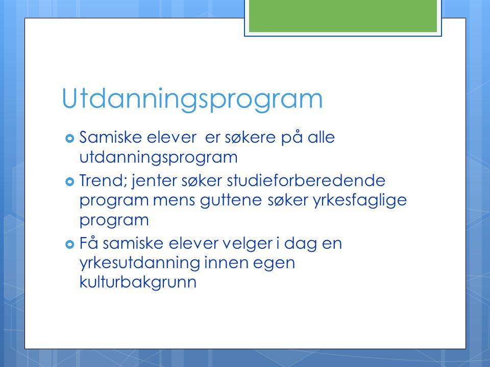 Utdanningsprogram Samiske elever er søkere på alle utdanningsprogram