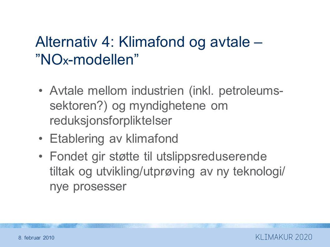 Alternativ 4: Klimafond og avtale – NOx-modellen
