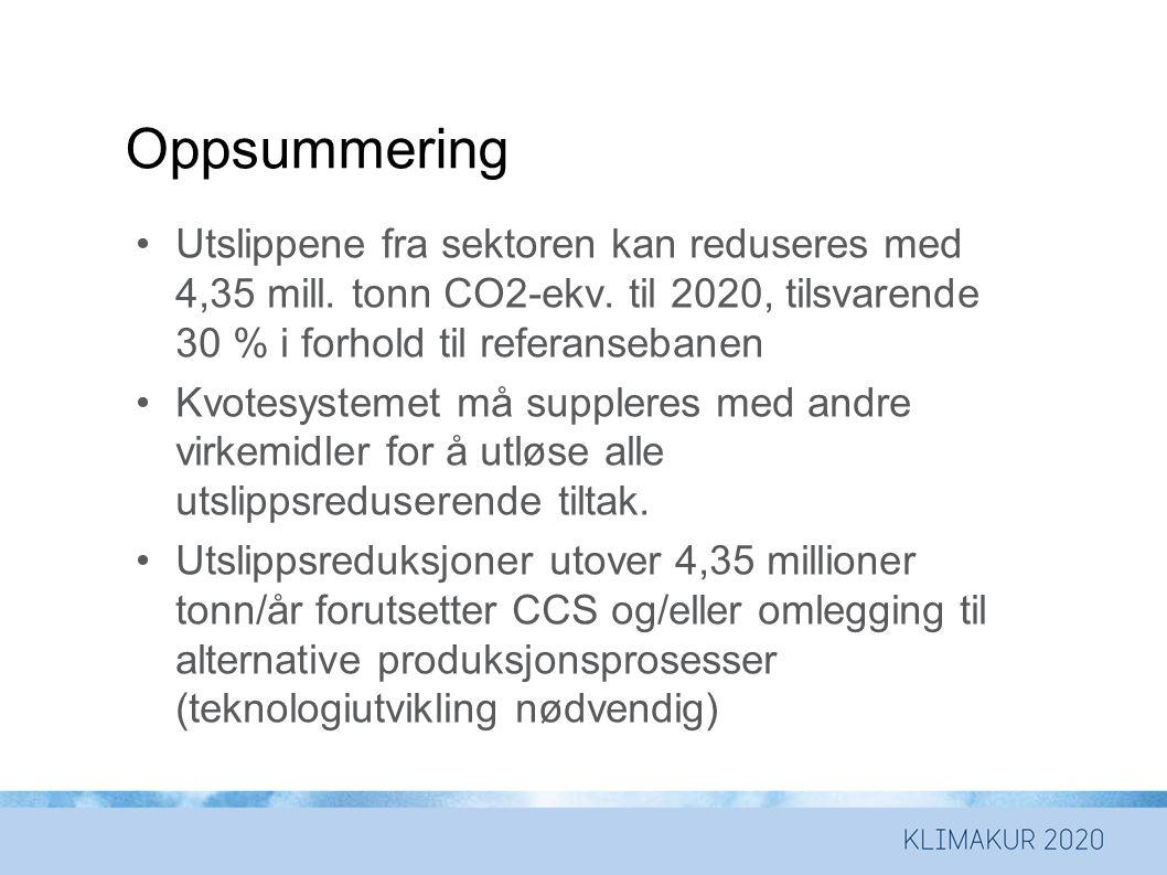 Oppsummering Utslippene fra sektoren kan reduseres med 4,35 mill. tonn CO2-ekv. til 2020, tilsvarende 30 % i forhold til referansebanen.