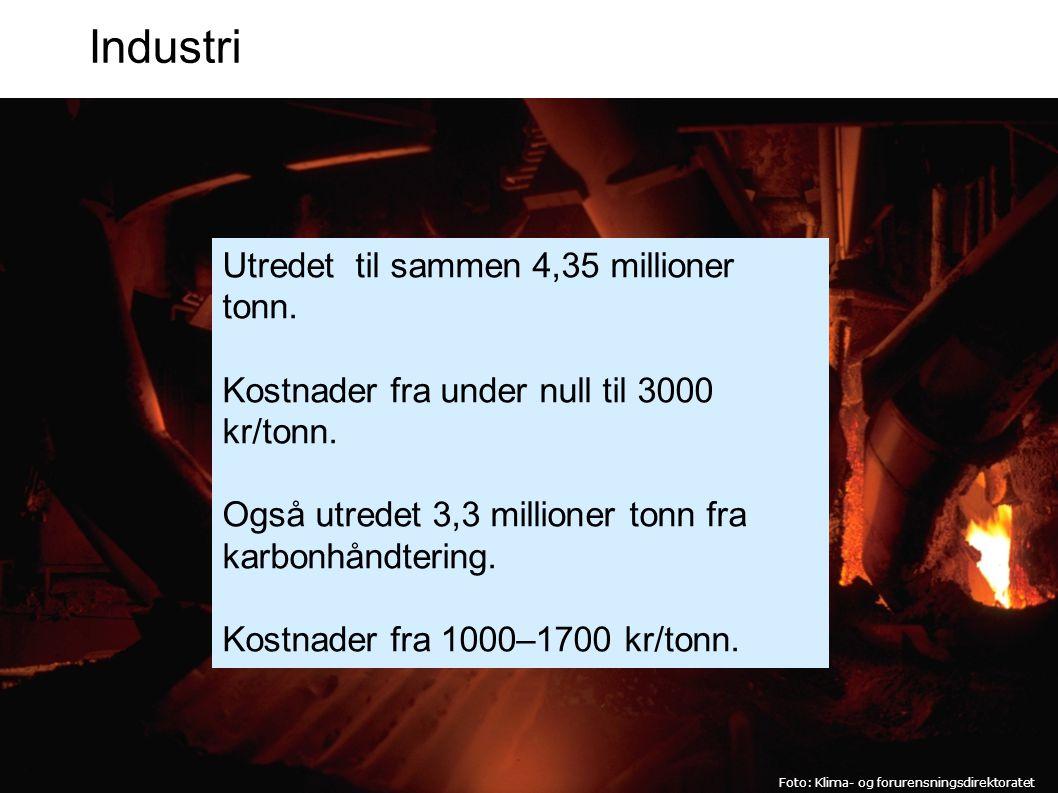 Industri Utredet til sammen 4,35 millioner tonn.