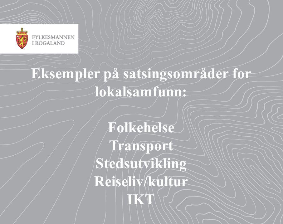 Eksempler på satsingsområder for lokalsamfunn: Folkehelse Transport Stedsutvikling Reiseliv/kultur IKT