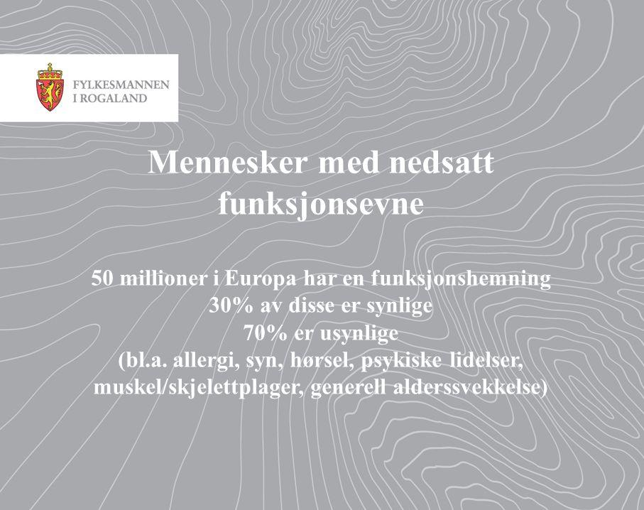 Mennesker med nedsatt funksjonsevne 50 millioner i Europa har en funksjonshemning 30% av disse er synlige 70% er usynlige (bl.a.
