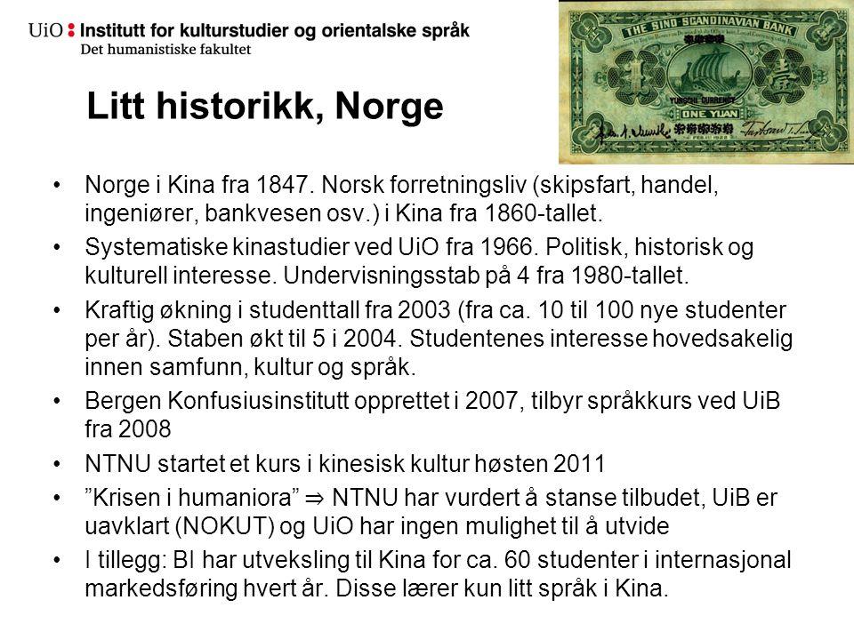 Litt historikk, Norge Norge i Kina fra 1847. Norsk forretningsliv (skipsfart, handel, ingeniører, bankvesen osv.) i Kina fra 1860-tallet.