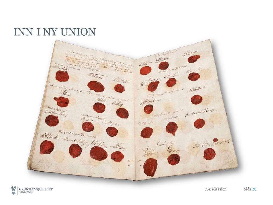 Inn i ny union Unionen styrket Grunnloven og Stortinget som symbol. Grunnloven ble det varige nasjonale symbolet.