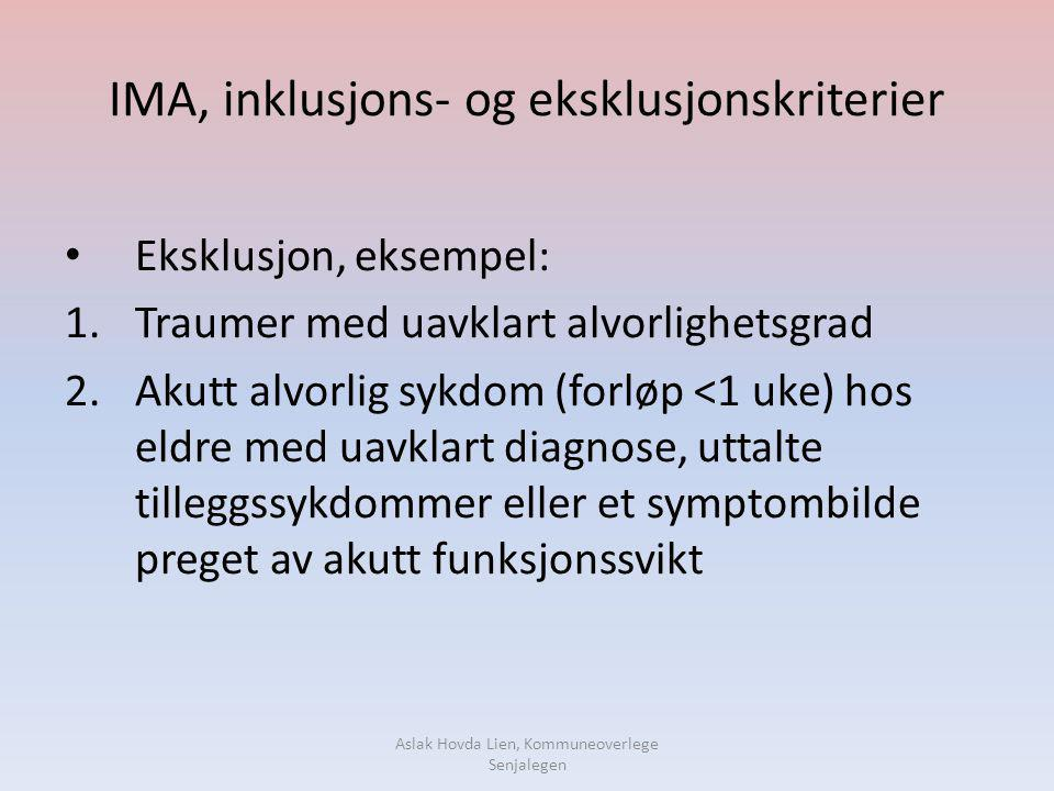 IMA, inklusjons- og eksklusjonskriterier