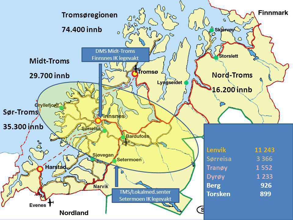 Tromsøregionen 74.400 innb Midt-Troms 29.700 innb Nord-Troms