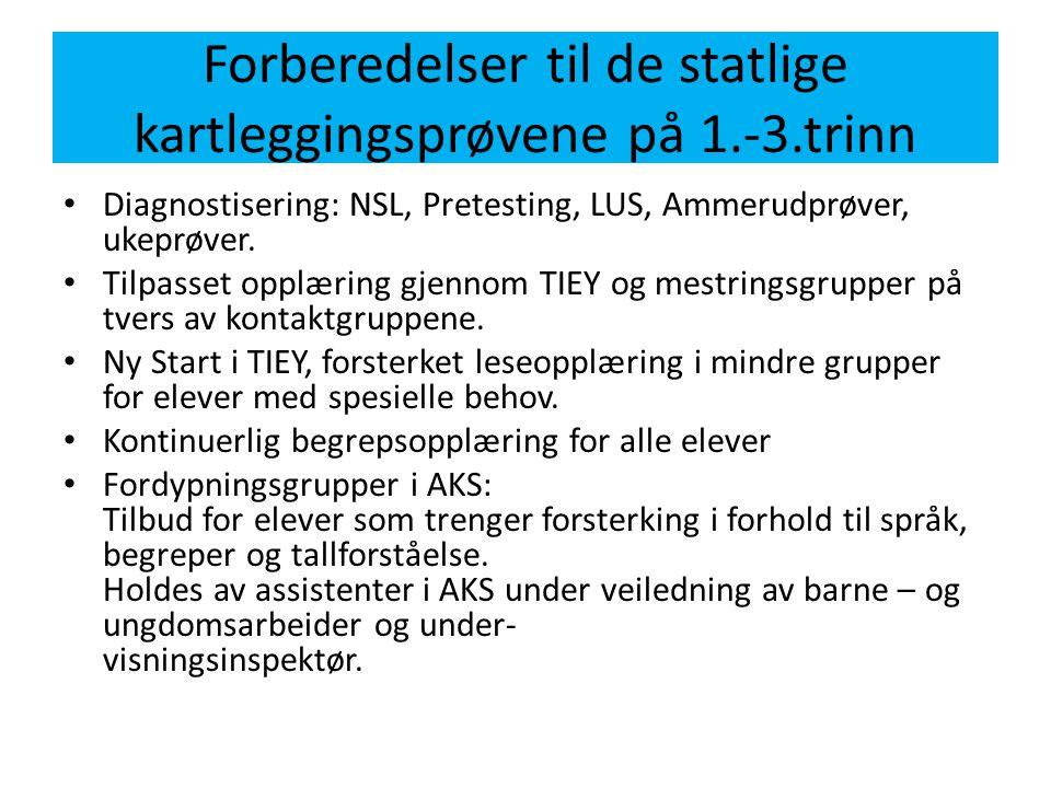 Forberedelser til de statlige kartleggingsprøvene på 1.-3.trinn