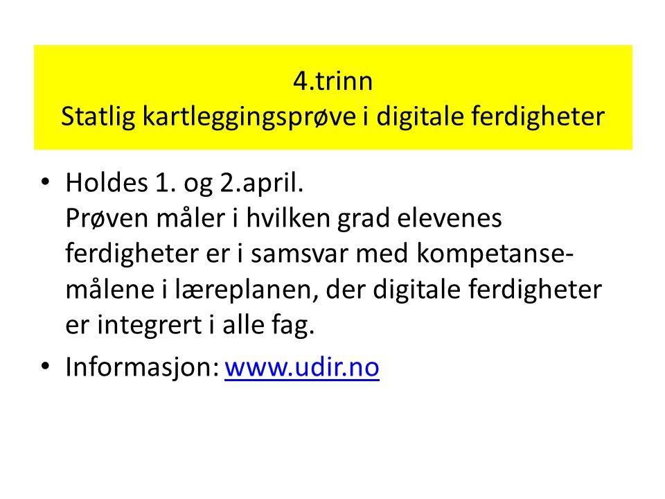 4.trinn Statlig kartleggingsprøve i digitale ferdigheter