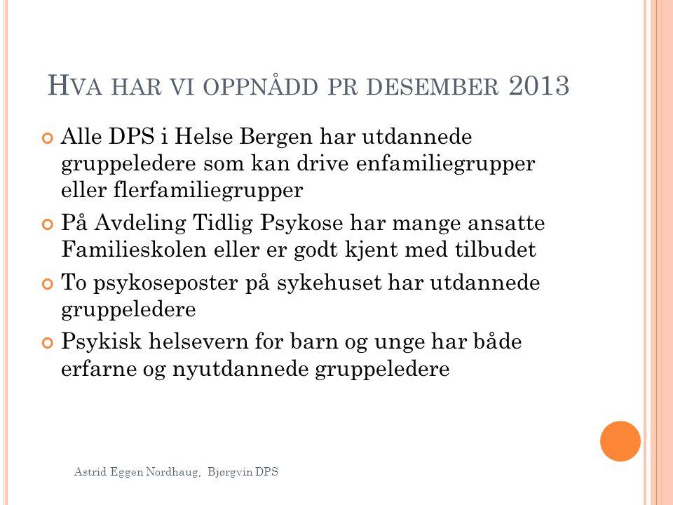 Hva har vi oppnådd pr desember 2013