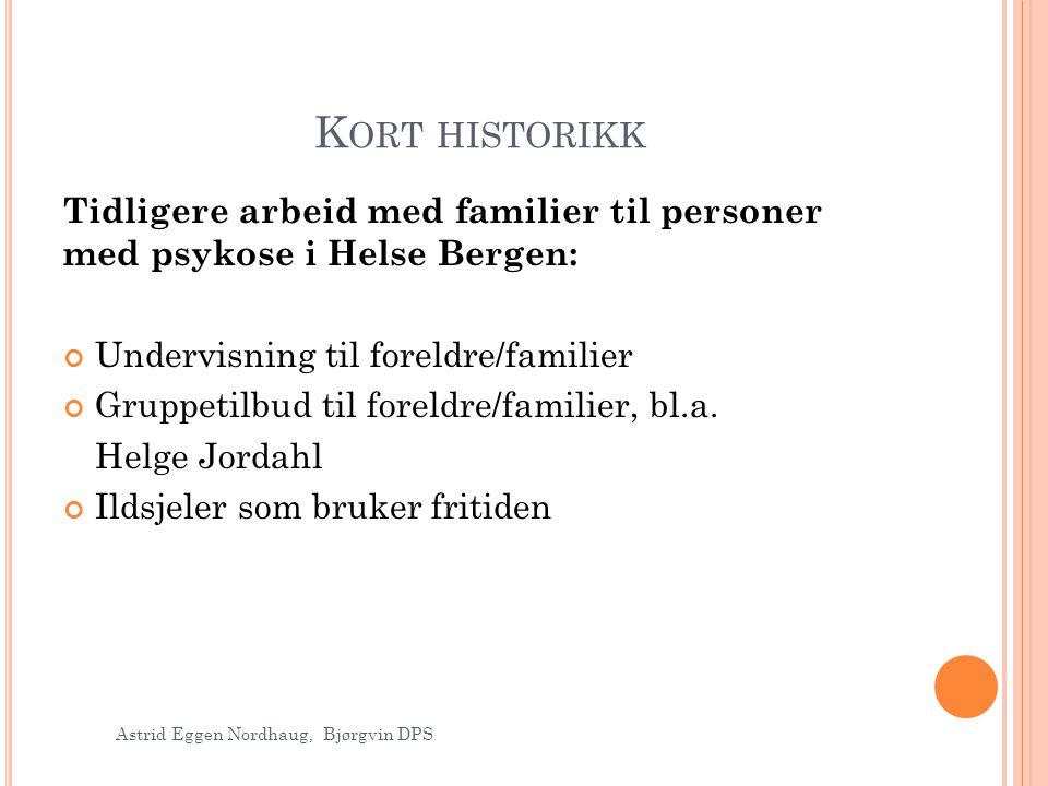 Kort historikk Tidligere arbeid med familier til personer med psykose i Helse Bergen: Undervisning til foreldre/familier.