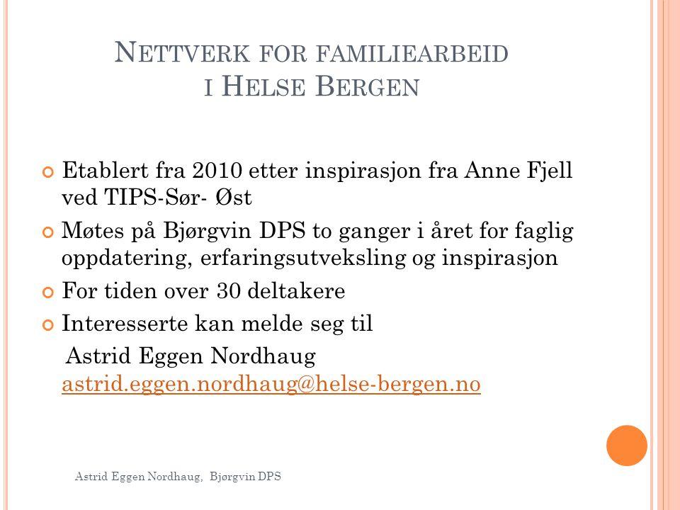 Nettverk for familiearbeid i Helse Bergen