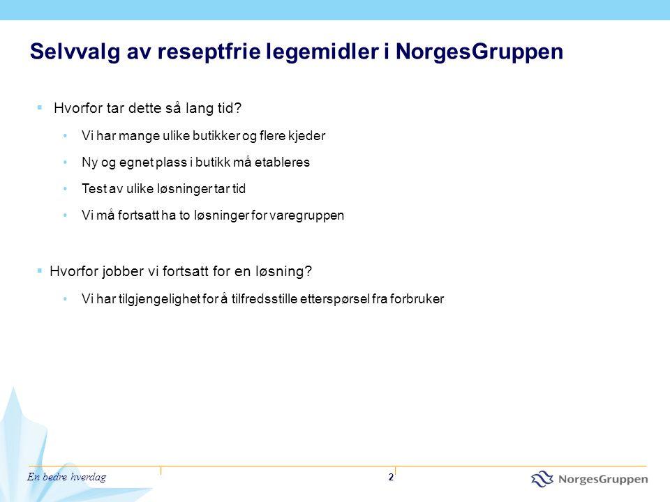 Selvvalg av reseptfrie legemidler i NorgesGruppen